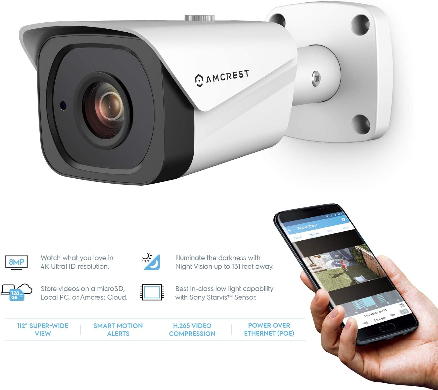 Amcrest UltraHD 4K 8MP Outdoor Bullet POE IP Camera, 3840×2160, 131ft NightVision, 2.8mm Lens, IP67 Weatherproof, MicroSD Recording, White IP8M-2496EW-28MM