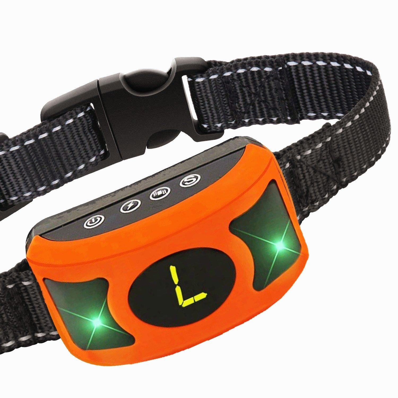 Upgraded Rechargeable Bark Collar Dog Shock Bark Control - No Bark Collar with Smart Chip, Large LED Display, Beep, Vibration, Harmless Shock, 3 Sensitivity Levels for Small Medium Large Dogs (Orange)