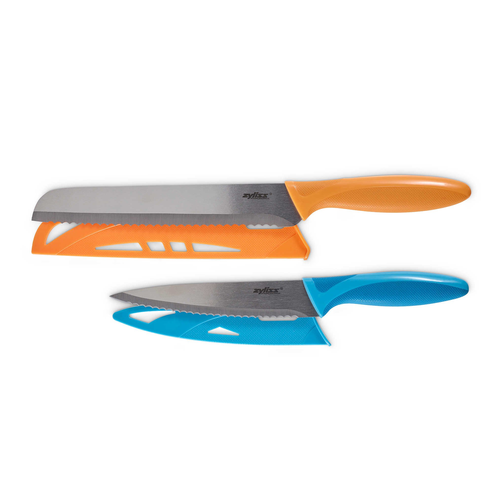 Zyliss 2-Piece Stainless Steel Serrated Knife Set, Featuring 8'' Bread Knife and Serrated Utility Knife with Blade Cover