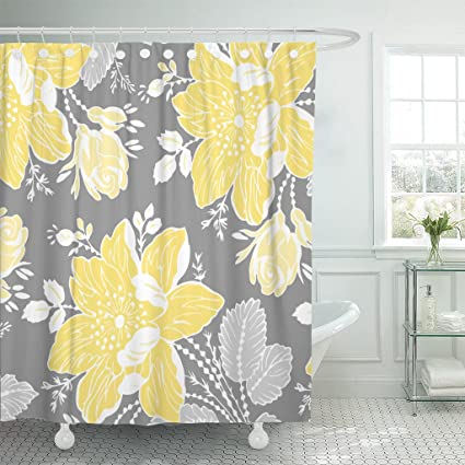 Accrocn Waterproof Shower Curtain Curtains Fabric Yellow Gray White Floral Extra Long 72x78 Inches Decorative Bathroom