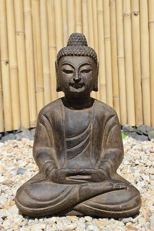 Asien lifestyle Amitabha Buddha Estatua la Piedra Natural (50cm) Budista Deco Jardín: Amazon.es: Jardín