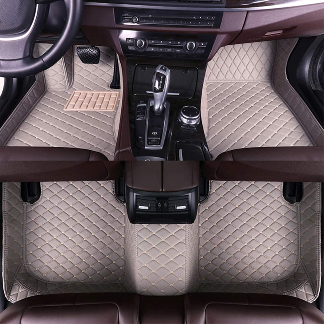 Custom Car Floor Mats for Land Rover Range-Rover-Sport 5-Seats 2014-2019 Full Surrounded Waterproof Anti-Slip All Weather Protection Leather Material Car mat Carpet Liners Interior Accessories Coffee