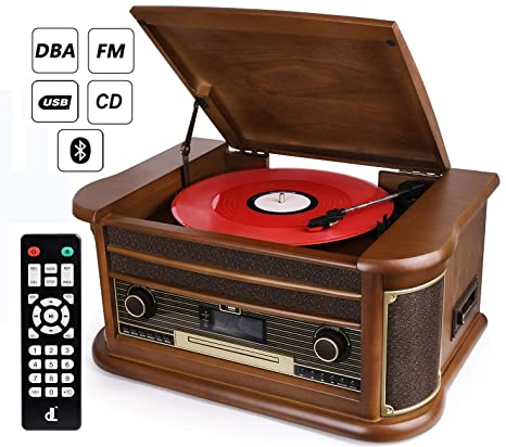 952a76485e489 D   L 7-in-1 Dab Tocadiscos Vintage Madera con Bluetooth