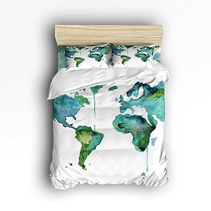 Amazon.com: Vandarllin Twin Size Bedding Set- World Map Duvet Cover ...