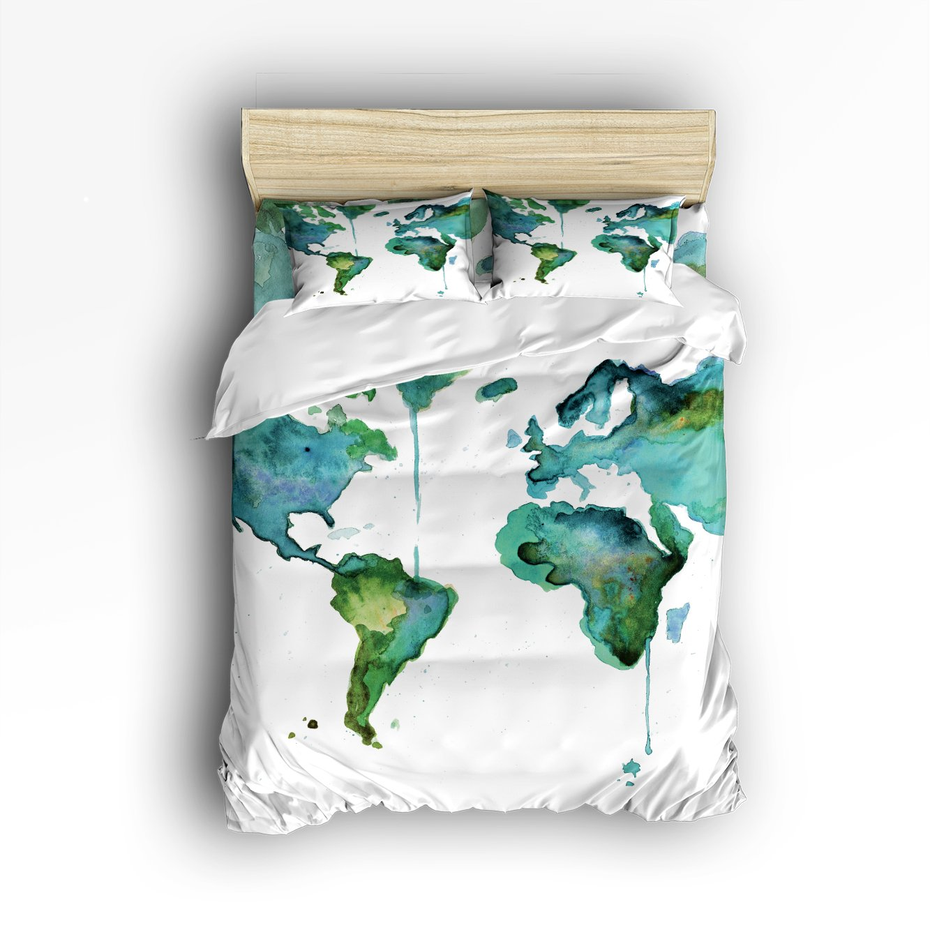Family Decor Map of the World Print Home Comforter Bedding Sets Duvet Cover Sets Bedspread for Adult Kids,Flat Sheet, Shams Set 4Pieces,4 Pcs Queen Size for Kids Teenage Teens