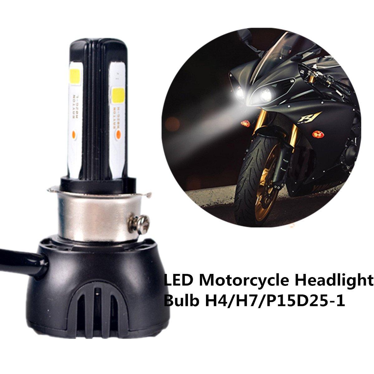 FEZZ Lampadina LED 40W H4 H6 S2 BA20D P15D25-1 per Faro Moto Lampadine Luce con Ventilatore di Raffreddamento 3 LED Hi Lo Fascio 4600Lm 6000k FZ0120