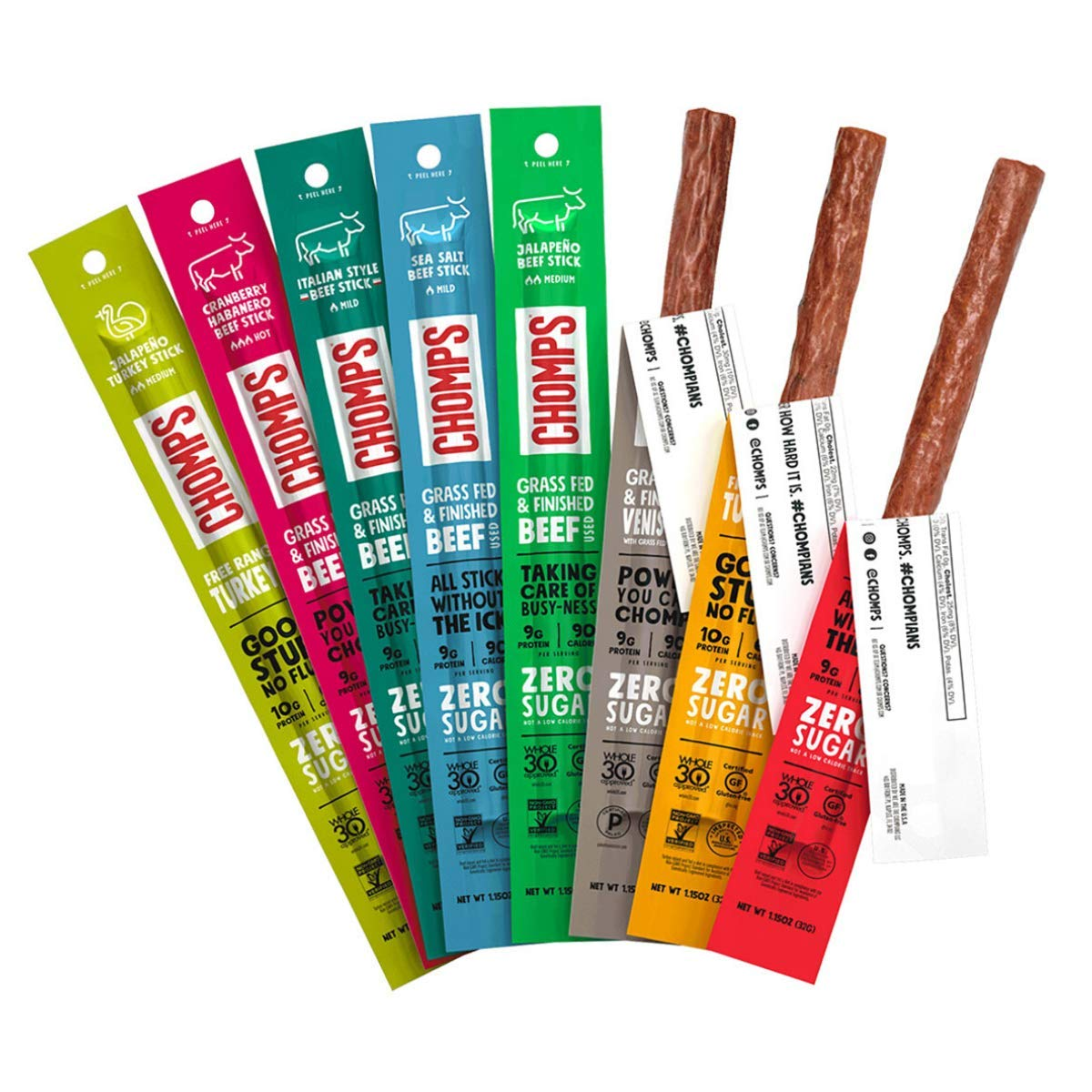 CHOMPS Grass Fed & Free Range Meat Sticks, Whole30, Keto, Paleo, Gluten Free, Sugar Free, Nitrate Free, Low Carb, High Protein, Variety Pack of 8 Sticks