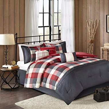 6 Piece Black Red Plaid King/Cal King Duvet Cover Set, Cabin Theme Striped Bedding Lumberjack Pattern Rugby Stripes Horizontal Vertical Stripe Lake House Cottage Tartan Checkered,Microfiber Polyester