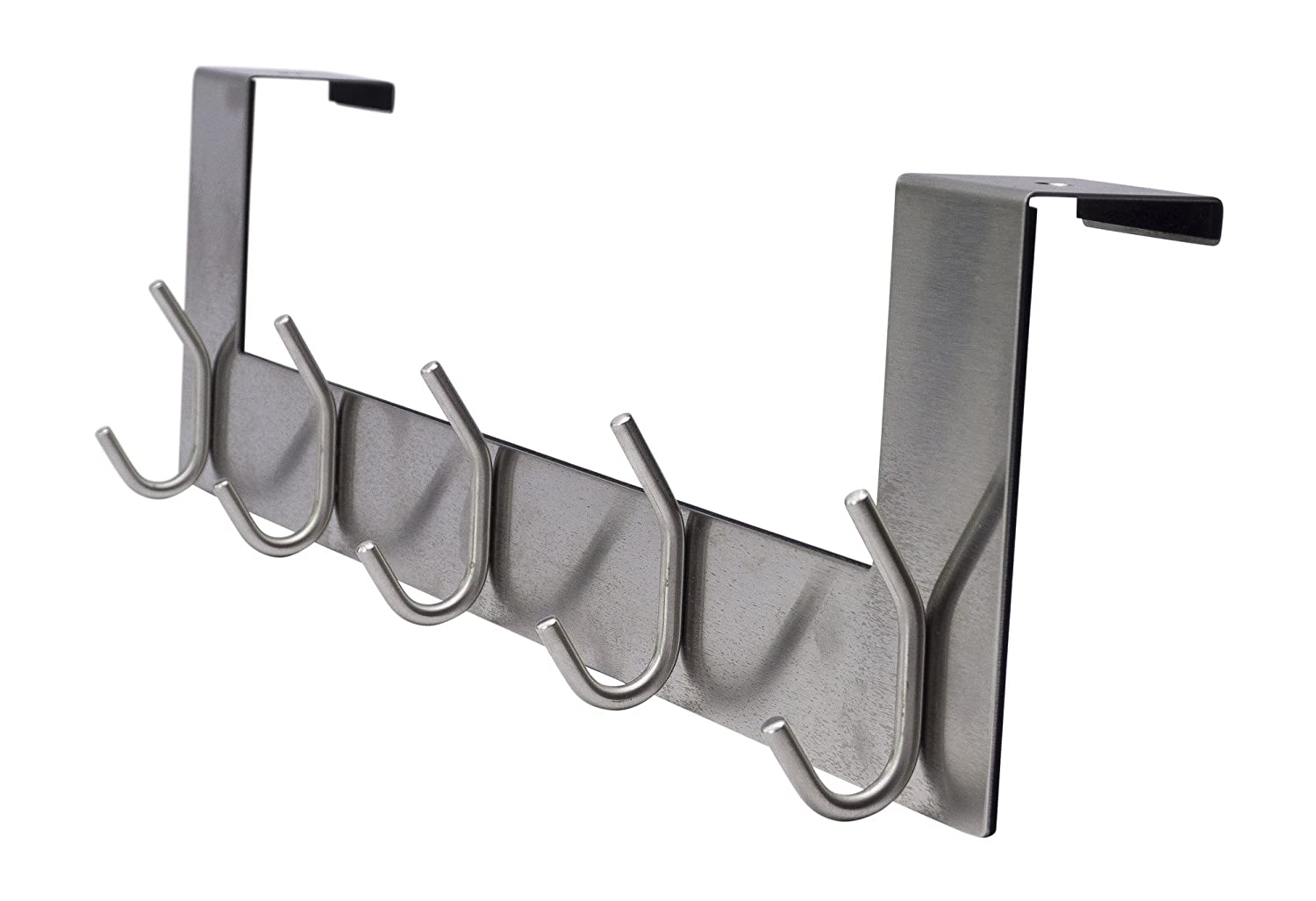 """Pro Chef Kitchen Tools Over The Door Hook - 5 Coat Hooks - 15.5 Inches Wide and Fits Doors up to 1.5"""" Thick - No Drill Towel Rack for Bathroom Storage Closet - Behind The Door Organizer Clothes Rack"""