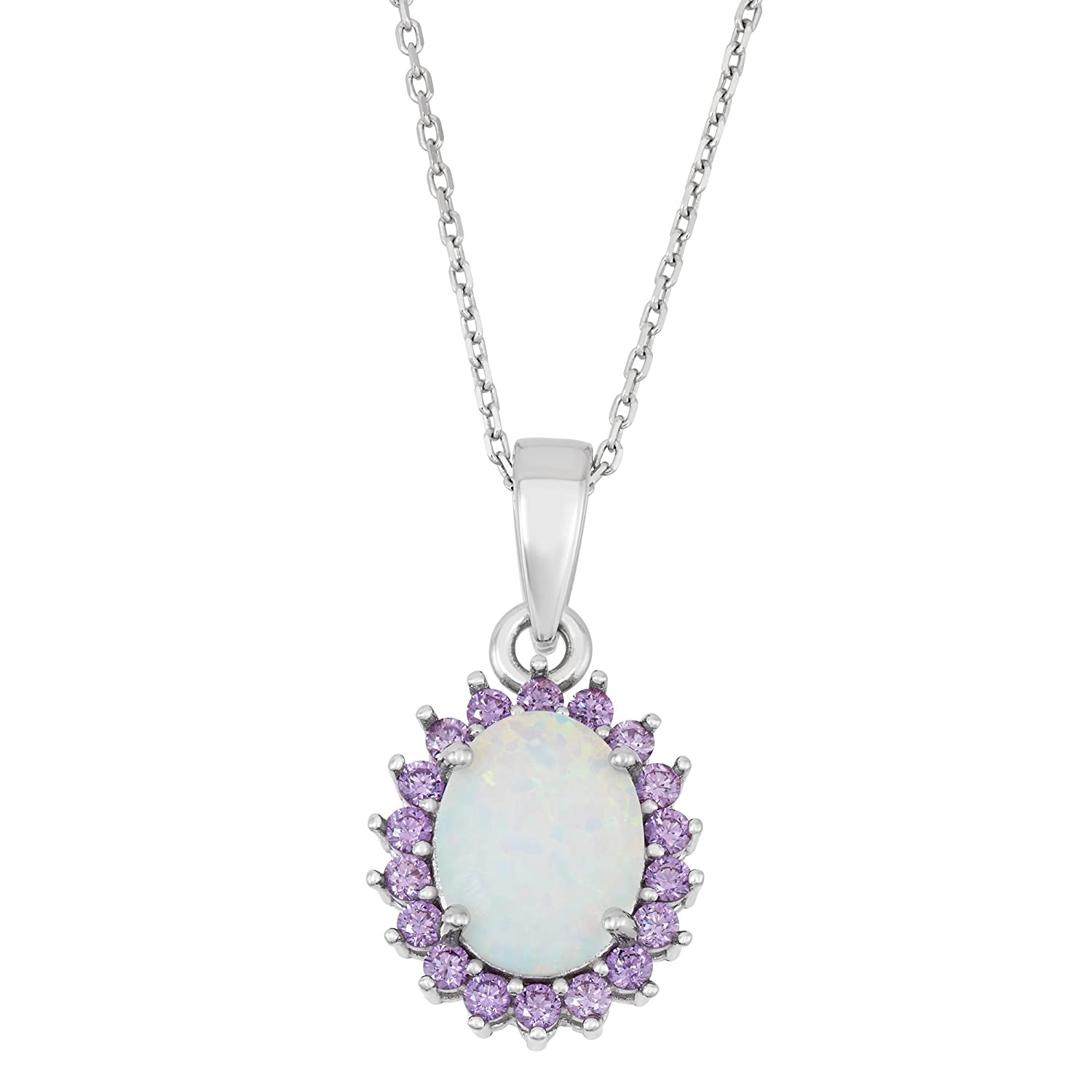 "Sterling Silver Created White Opal & Amethyst CZ Pendant with 18"" Chain"