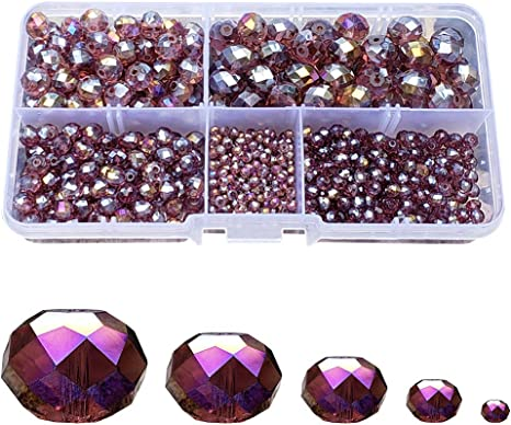 300 Piece Jewelry Making Faceted Kit Briolette Crystalized Glass Beads Supplies