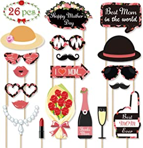 Mother's Birthday Photo Booth Props - Party Favor Decoration for Best Mom Mother's Day Reunions Homecoming Party Supplies Gift Idea, Disguise Selfie Dress-up Shoot Props Desk Decoration - 15pcs