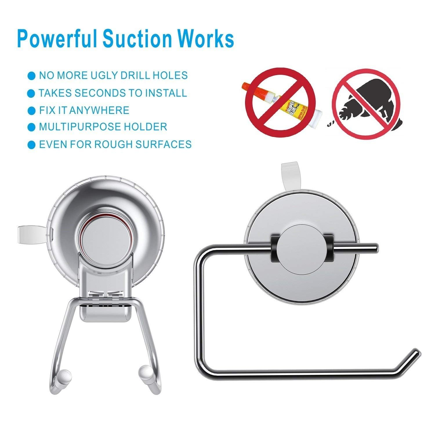 CQSTIME Toilet Roll Holder & Suction Cup Holder | Perfect Household Accessory | Ideal for Toilets & Bathrooms | Stainless Steel Chrome Finish | Easy to Install & Remove | Works on all Flat Surfaces by CQSTIME (Image #3)