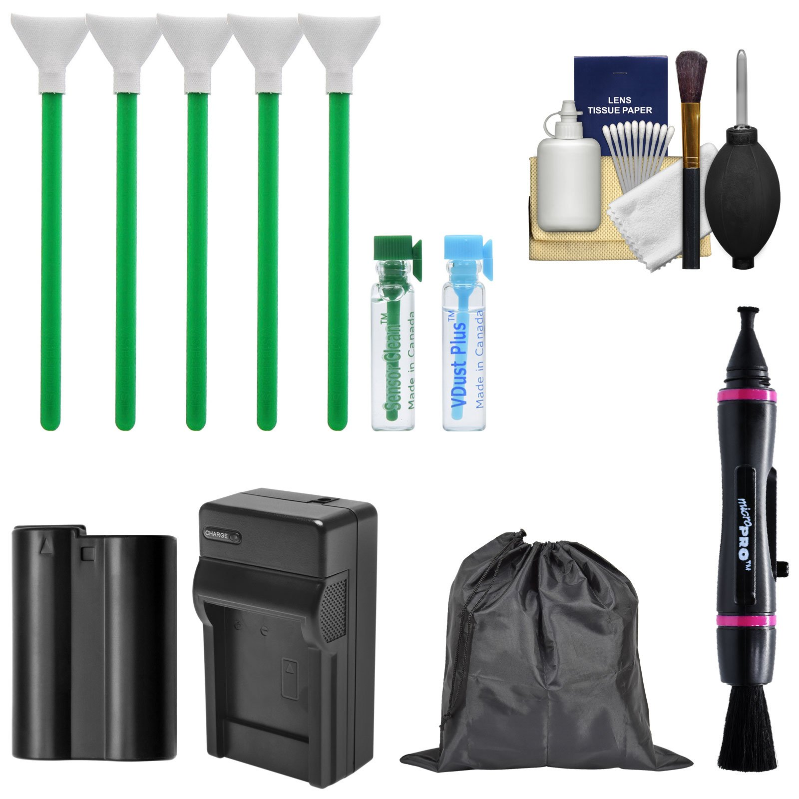 Essential Bundle Sensor Cleaning Kit with EN-EL15 Battery & Charger Bundle for Nikon D610, D750, D800, D810, D850 DSLR Cameras