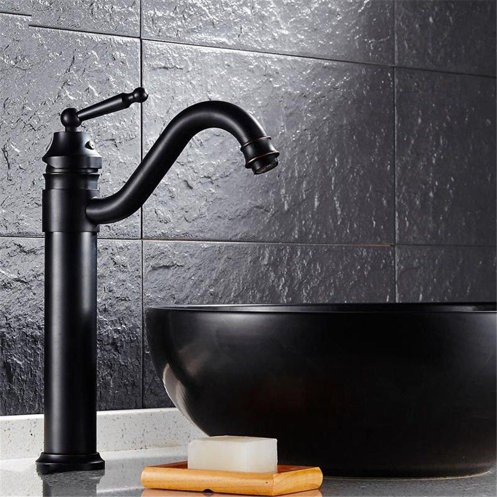 MEIBATH Waschtischarmatur Badezimmer Waschbecken Wasserhahn Küchenarmaturen Schwarz Antik Warmes und Kaltes Wasser Ventil Messing Küchen Wasserhahn Badarmatur