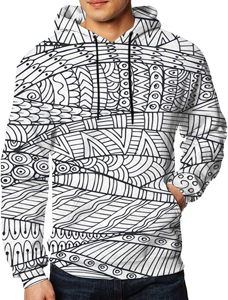 Mens Hooded Sweatshirt Long Sleeve Hoodie Zentangle Invitations Pullovers Sweaters Big Pockets