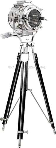 Nautical Retro Classic Theater Collectible Steel Tripod Searchlight Lamp | Movie Props Authentic Nautical Floor Lamp Light