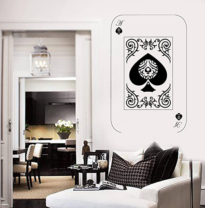 Wall Vinyl Sticker Decals Mural Room Design Art Card Game Play Spade Dog bo1825