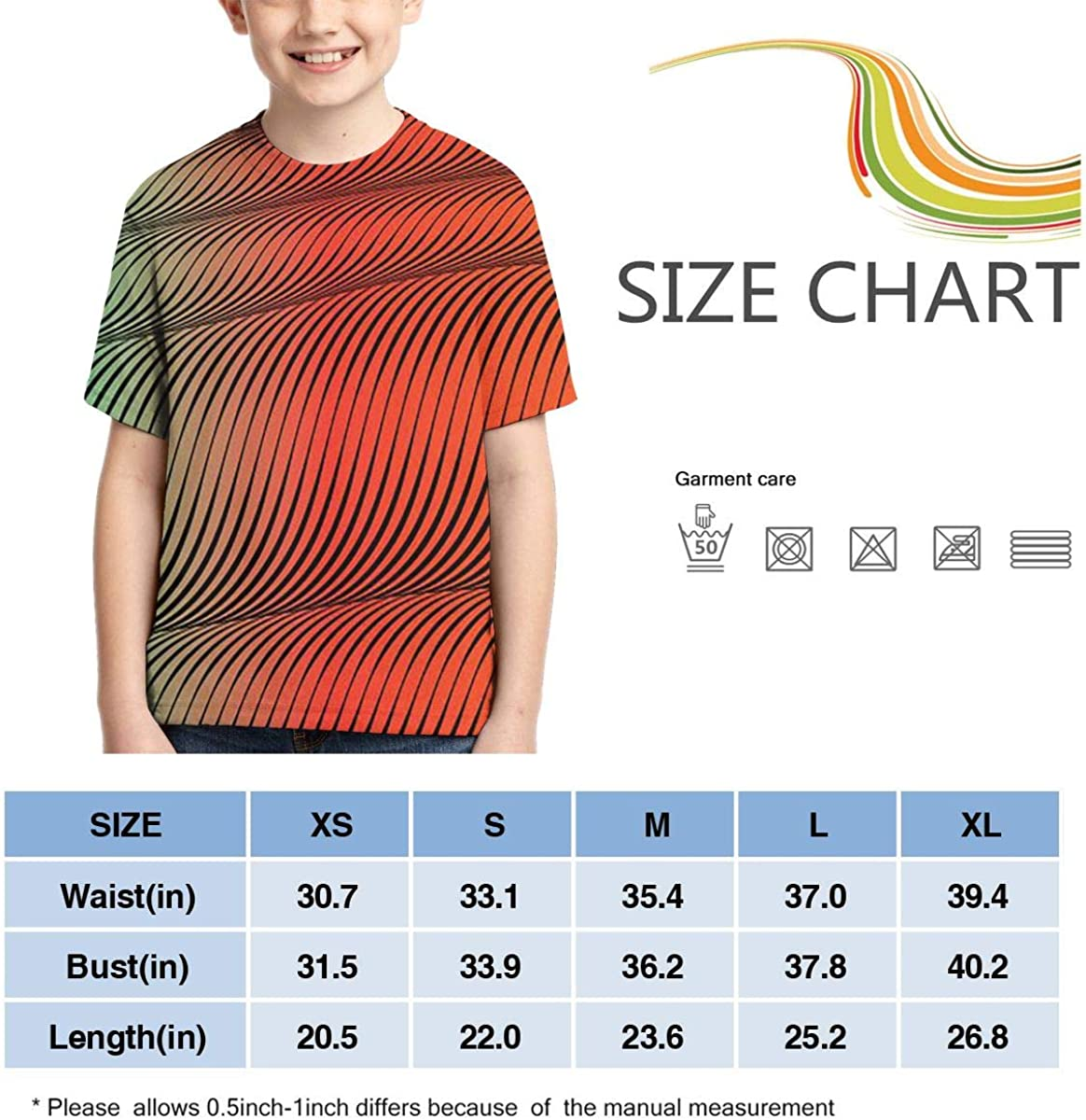 MSMM Boys Border Scroll Geometric Wavy Watercolor Line T-Shirts Youth Kids Short Sleeve Active Sports Top Tee