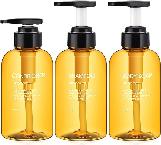 Image of3 Botellas de Dispensadores de loción y de jabón, Segbeauty 300ml botellas de bomba recargables para champú acondicionador Gel de ducha corporal Baño de hotel Dispensador de prensa de plástico -Marrón