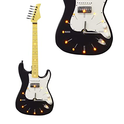 Maison des Cadeaux - Reloj de Pared para Guitarra eléctrica, LED, Color Blanco y