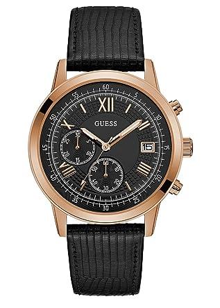 Guess Reloj Cronógrafo para Hombre de Cuarzo con Correa en Cuero W1000G4: Amazon.es: Relojes