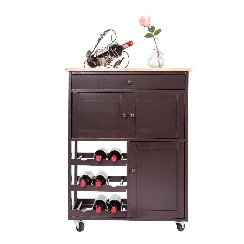 Multi-Purpose Wood Rolling Wood Kitchen Island Trolley Cart Wood Top Storage Cabinet Utility (Dark Brown)