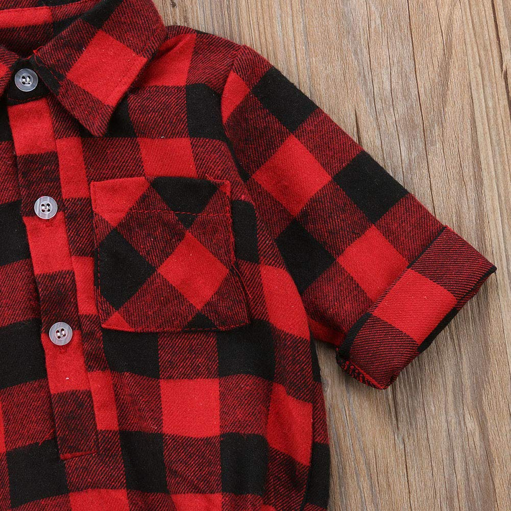 Toddler Baby Boys Girls Letters Print Long Sleeve Button Down Red Plaid Cotton Top Blouse