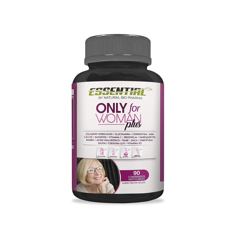 ONLY FOR WOMAN PLUS - Colágeno Hidrolizado Puro + Magnesio + Ácido Hialurónico + Condroitina + Coenzima Q10 + Vitamina D3 + Calcio + Glucosamina + ...