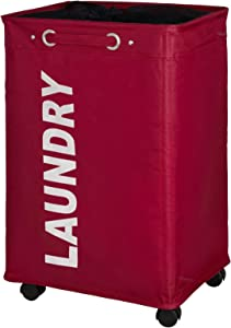 WENKO Quadro Laundry Bin, 15.7 x 23.6 x 13.0 inch, red