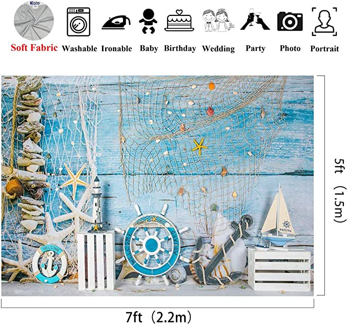 Kate 10x6.5ft Microfiber Summer Nautical Backdrops for Photography Rudder Helm with Anchor Background Birthday Theme Party Decoration Adults Kids Portrait Backdrop