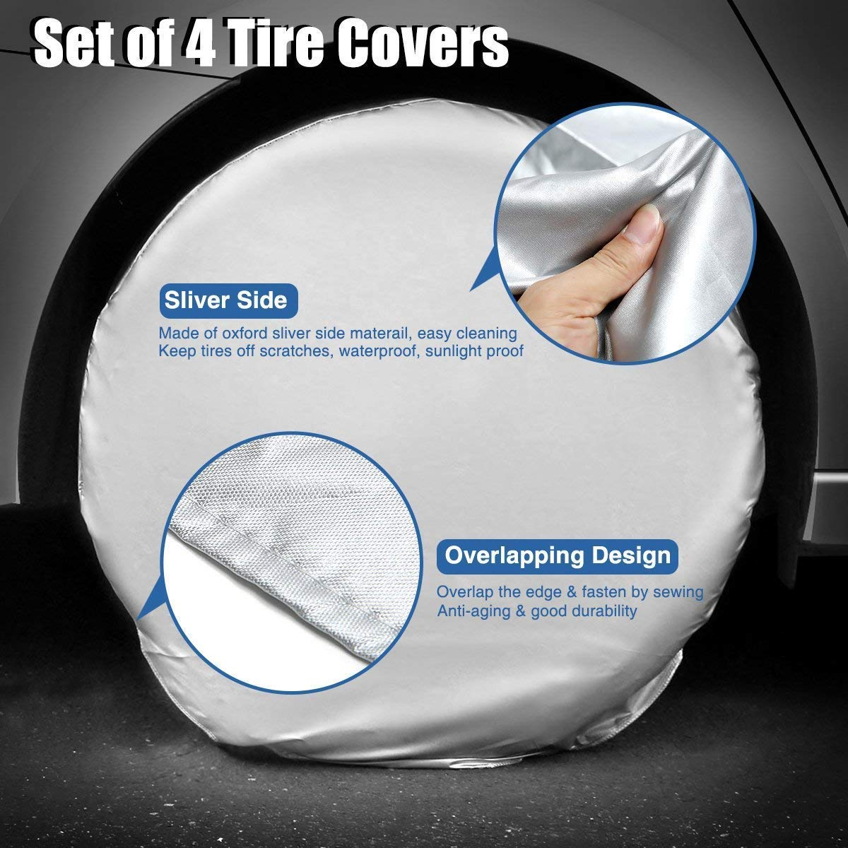 TOOGOO Car Tire Cover Waterproof Sunscreen Rv Trailer Oxford Cotton Tire Cover Suitable for 24-26 Tire Diameter