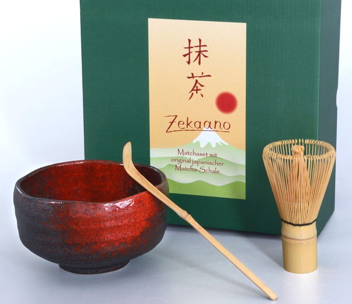 zekaano Matcha–Original Bol à matcha Chawan 500ml japonais avec matchabesen Chasen et cuillère en bambou Chas Haku, traditionnel, noir/rouge, Ø 13cm, fait main Aricola