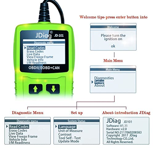 the JDiag JD101 OBD2 scanner provides a brief explanation of the exact cause of the check engine warning light.