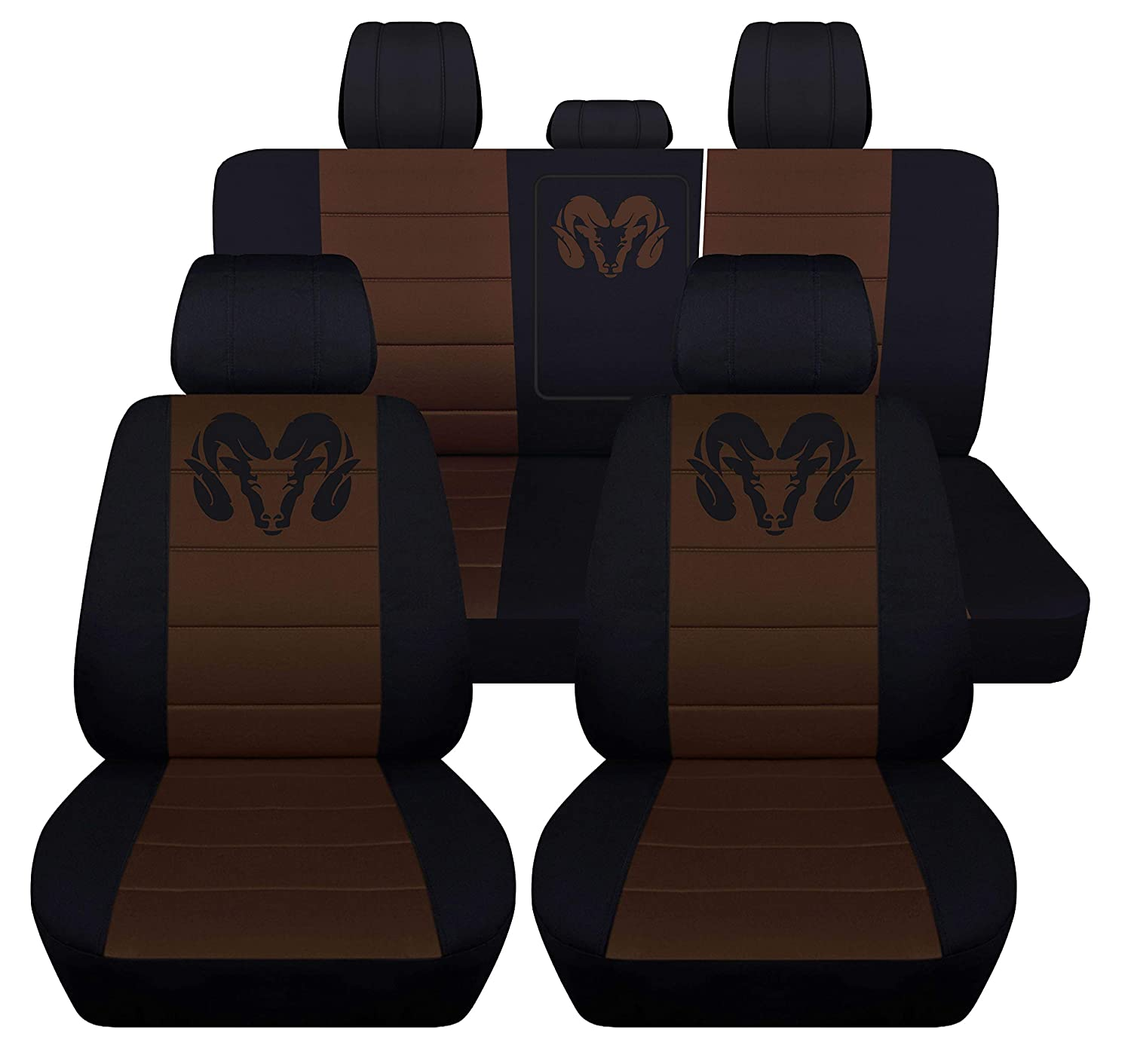40 20 40 Front and Rear Seat Covers for 2013 to 2018 Dodge Ram 22 Color Options Solid Rear Bench, Black Red