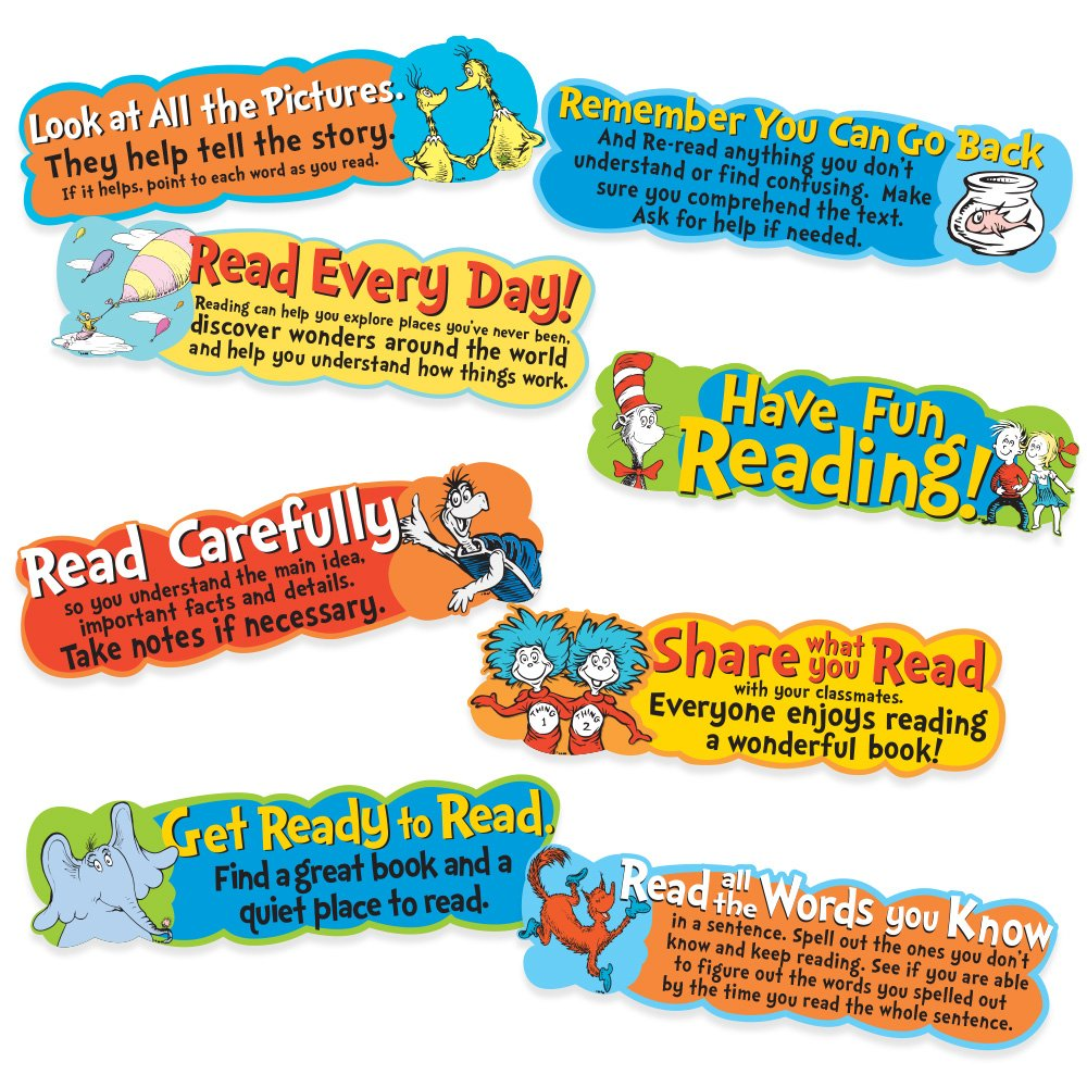 Eureka Back to School Dr Seuss Motivational Reading Bulletin Board and Classroom Decorations, 6.5'' x 0.1''x 26'', 8 pc 6.5'' x 0.1''x 26'' BERYD 847057