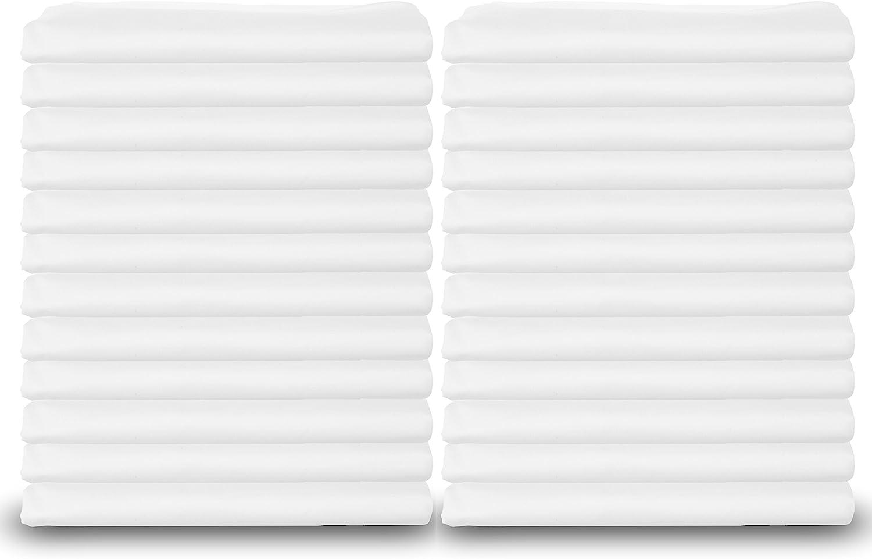 Standard White Pillowcases, T-180 Percale Hotel Linen (24, Standard)