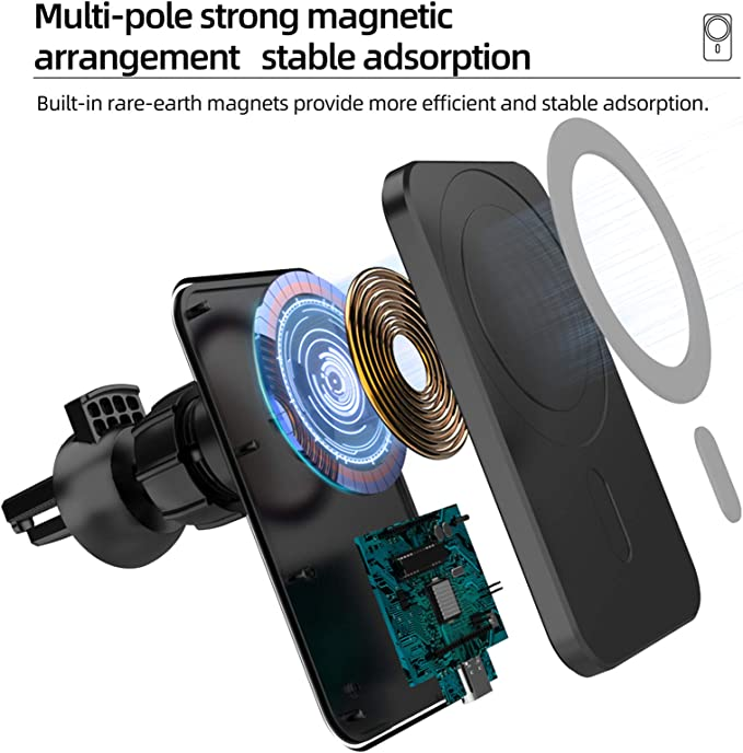 Zgbq Wireless Car Charger With Magsafe For Iphone 12 12 Pro 12 Mini 12 Pro Max Magnetic Wireless Car Charger Holder Black Küche Haushalt