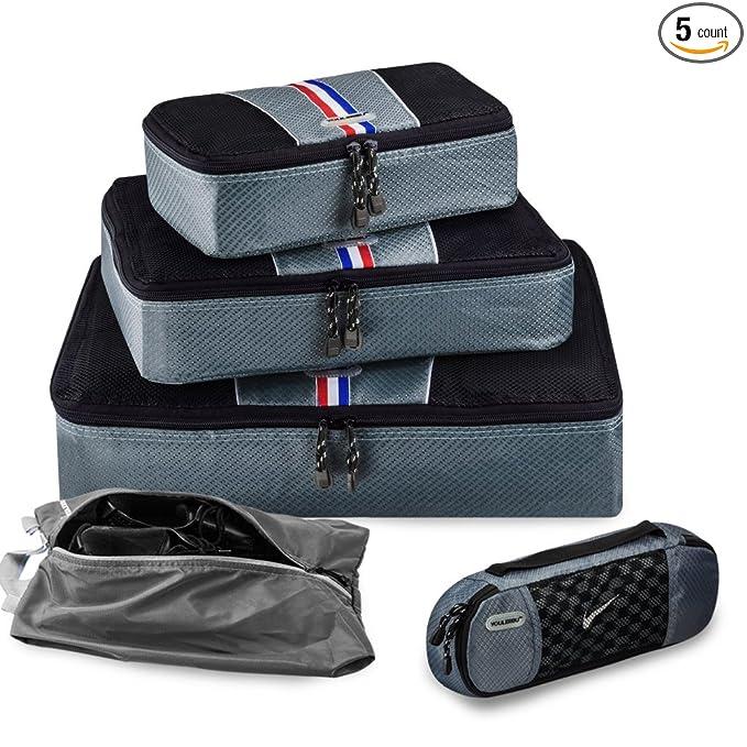 Youlerbu 5 Set Packing Cubes-Small Medium Large Slim and Shoe Bag,Lightweight Travel Cubes Luggage Organizer