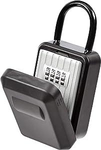 AmazonBasics Portable Key Storage Box With Waterproof Cover - Combination Lock - Black