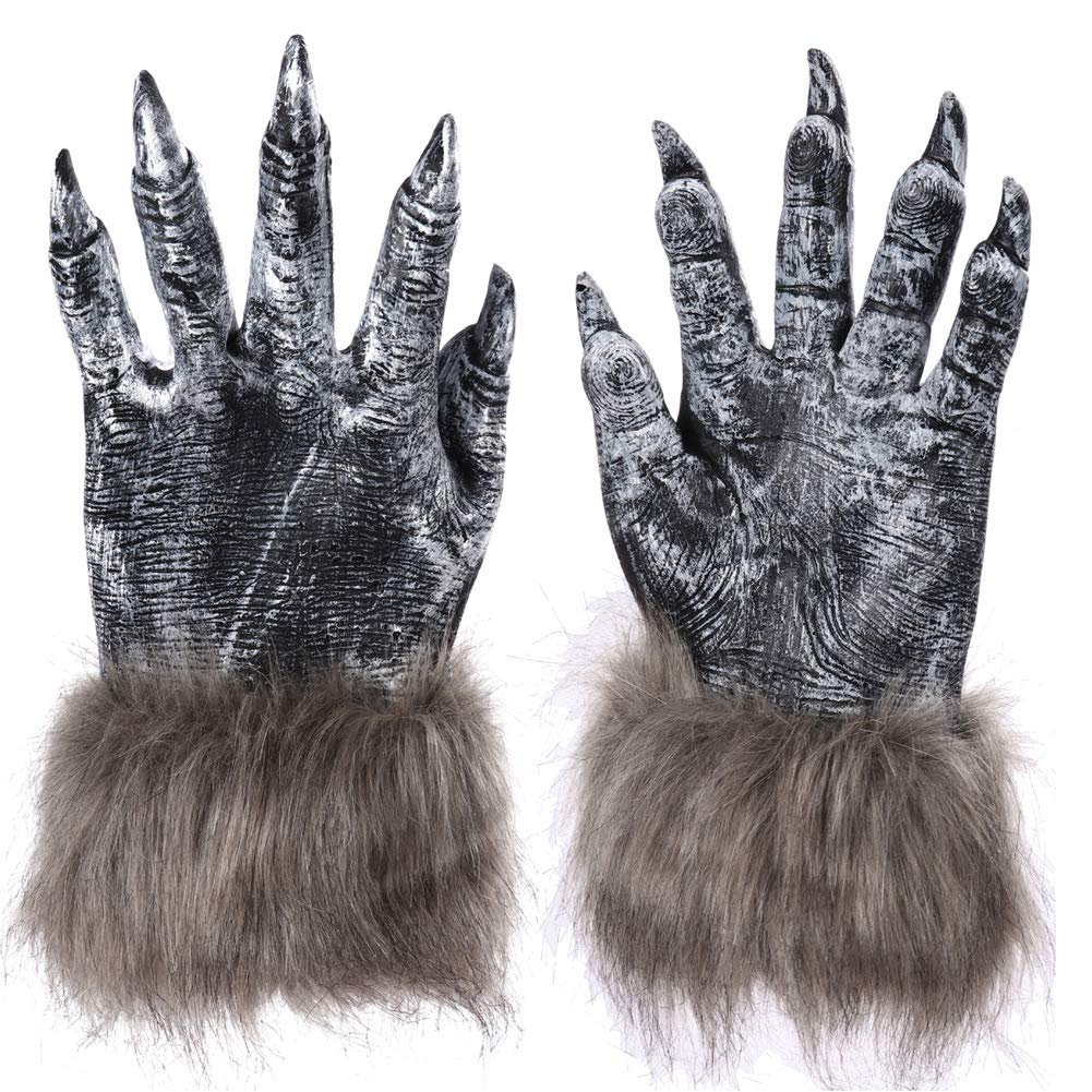 Halloween Wolf Finger Gloves Werewolf Furry Paws Claws Cosplay Costume Party