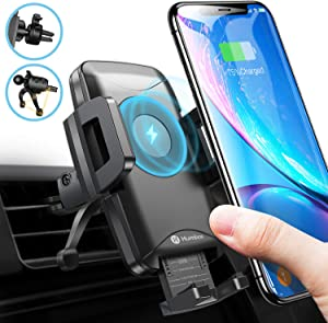 Wireless Charger Car Mount, Humixx 10W/7.5W Qi Wireless Car Fast Charger for Phone, Adjustable Car Phone Holder for Air Vent, Compatible with iPhone 11 Pro Max XS Max XR X 8 Plus S10+ S10e S9 Note 10
