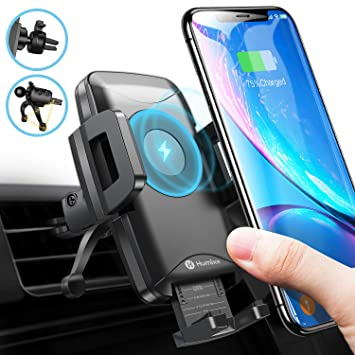 Wireless Car Charger Mount Infrared Sensor Auto Clamping 10W 7.5W Qi Fast Car Charging Samsung S10+ S10e S9 Note 9 Air Vent Car Phone Holder Compatible with iPhone Xs Max XR 8 Plus