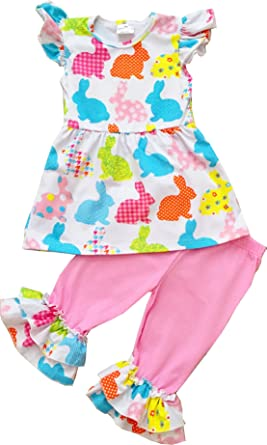 9a4145f57 Amazon.com: Angeline Boutique Girls Easter Bunny Clothing Set Rabbit Print  Flutter Sleeves Ruffles Capri Set: Clothing