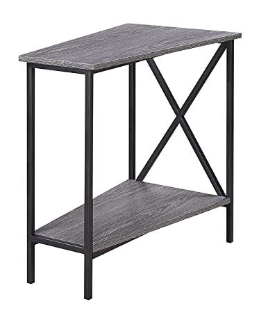 Convenience Concepts Tucson Wedge End Table, Weathered Gray Black
