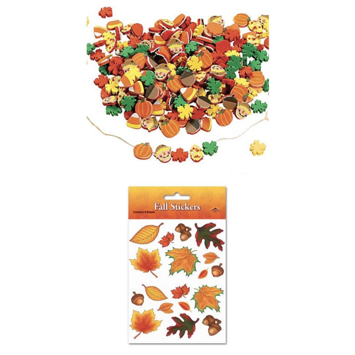 Autumn HARVEST Craft & Sticker Set - 500 FOAM Fall BEADS & 72 Stickers LEAVES Foliage - Leaf KID'S Activity TEACHER Scouts