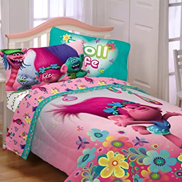 Girl Sheet Set 3 Piece Kids Bedding Dreamworks Troll Life Bedsheets