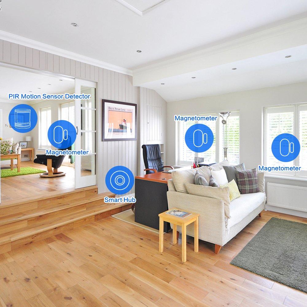 PHYSEN inalámbrico Smart Home sistema de alarma de seguridad con sensor de movimiento 1 Smart Wifi HUB, 5 sensores de contacto, 2, 1 timbre botón, ...