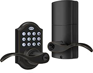 BESTTEN Traditional Digital Electronic Keypad Locking Door Lever Lock, Programmable Door Handle, Oil Rubbed Bronze
