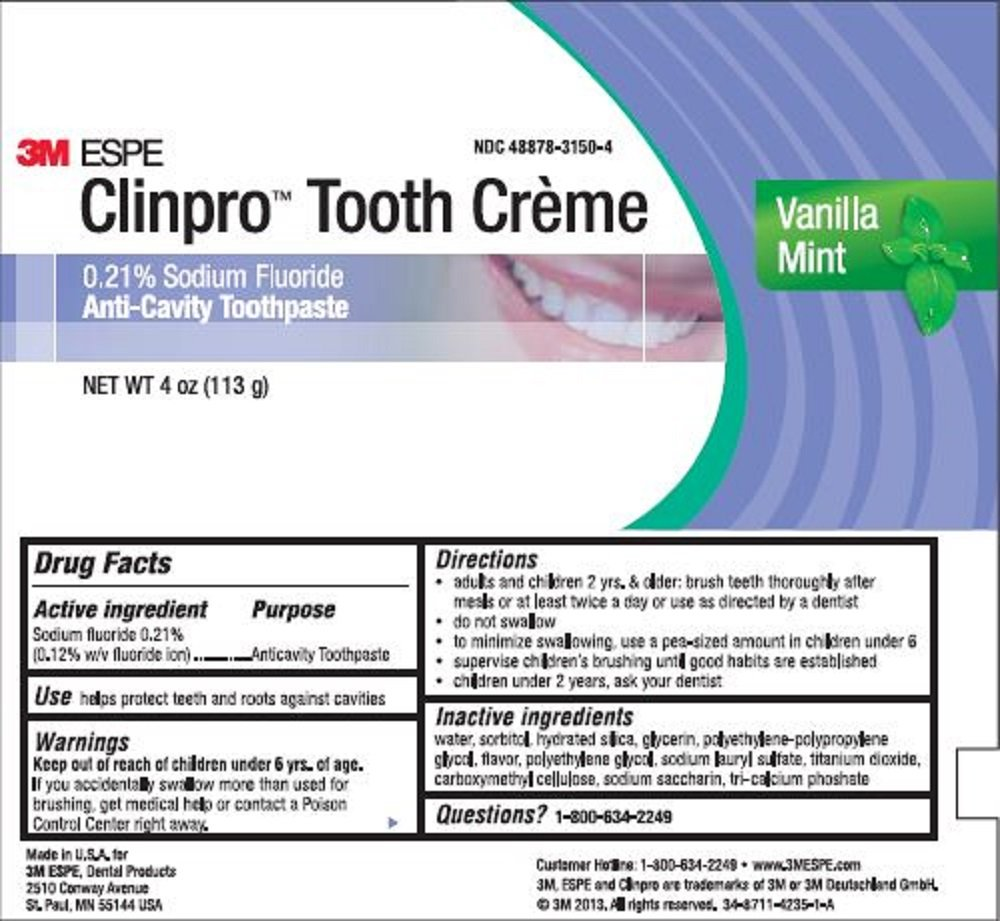 3M ESPE 12117 Clinpro Tooth Creme 0.21% NAF Anti Cavity Toothpaste, Vanilla Mint by 3M Oral Care (Image #1)